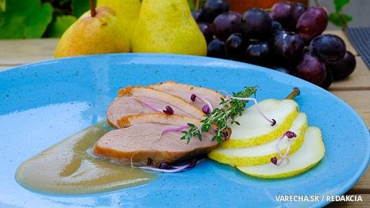 Medové kačacie prsia s teplým jablkovým pyré