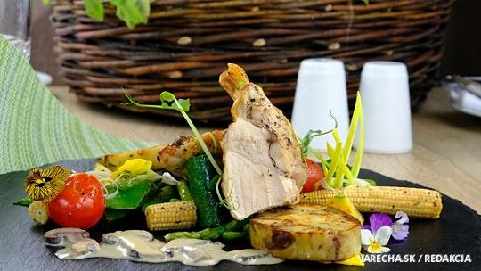 Prepelička na šampiňónovom ragú a zelenine