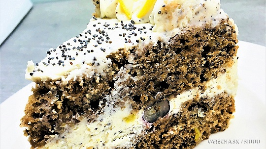 Svieža torta s citrónovo-makovým krémom