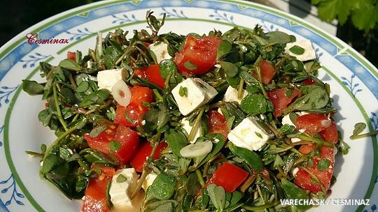 Zdravý portulakový šalát s cesnakom a so syrom
