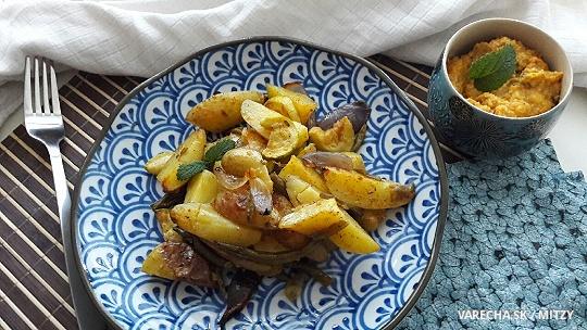 Pečené zemiaky s cuketou a dip z cukety a syru