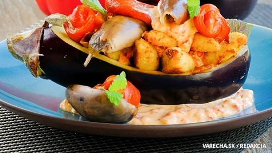 Zaváraný baklažán s paprikou so syrovými haluškami