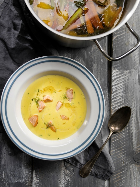 Krémová polievka s lososom